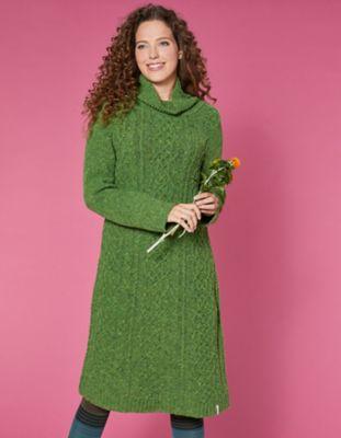 Deerberg Woll-Strick-Kleid Querina grün-melange