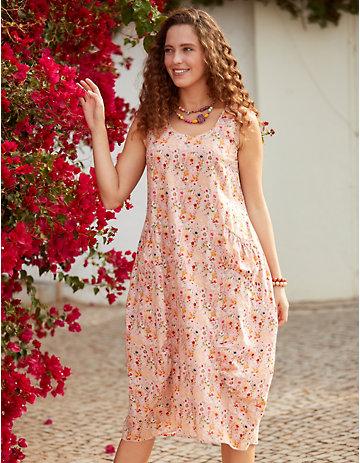 Deerberg Kleid Frederika rosa-geblümt