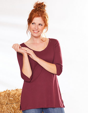 Deerberg Jersey-Shirt Chrissa aubergine