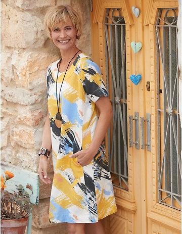 Deerberg Leinen-Kleid Zega gelb-bunt