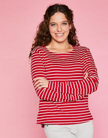 Deerberg Sweat-Shirt Kelia rot-cremeweiß-gestreift