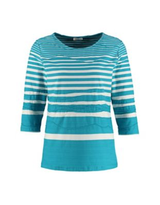 Deerberg Jacquardjersey-Shirt Rajka topasblau-gestreift