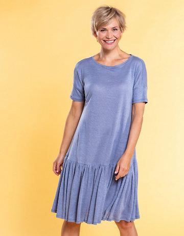 Deerberg Leinenjersey-Kleid Kainda hortensienblau