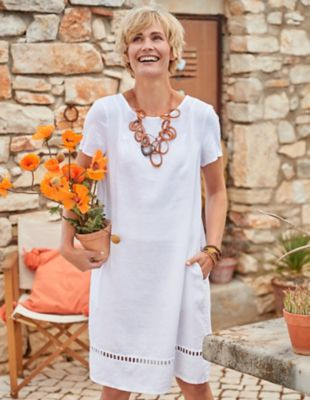 Deerberg Leinen-Kleid Laima weiß