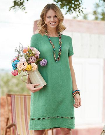 Deerberg Leinen-Kleid Laima grasgrün
