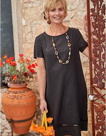 Deerberg Leinen-Kleid Laima schwarz