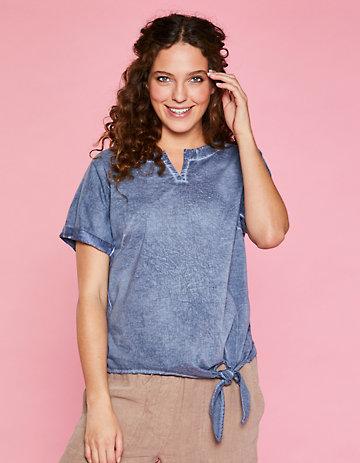 Deerberg Leinenjersey-Shirt Delisa indigo-washed