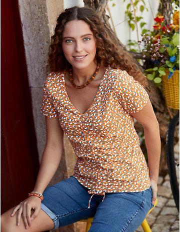 Deerberg Jersey-Shirt Zorica aprikose-bedruckt