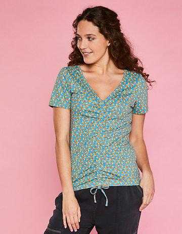 Deerberg Jersey-Shirt Zorica topasblau-bedruckt