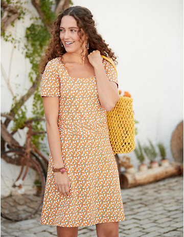Deerberg Jersey-Kleid Nanetta aprikose-bedruckt