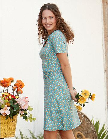 Deerberg Jersey-Kleid Nanetta topasblau-bedruckt