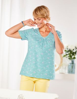 Deerberg Jersey-Shirt Taalke topasblau-bedruckt