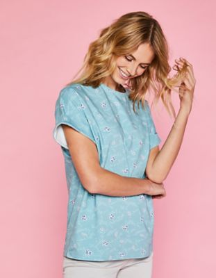 Deerberg Jersey-Shirt Rosika topasblau-bedruckt