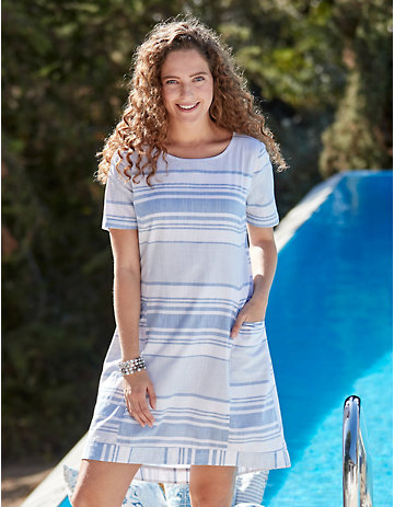 Deerberg Kleid Fentje puderblau-gestreift