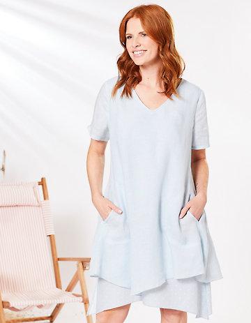 Deerberg Leinen-Kleid Ortrun blassblau