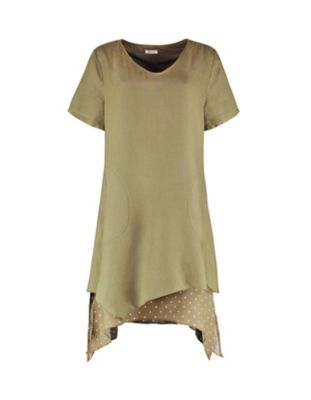 Deerberg Leinen-Kleid Ortrun olivgrün