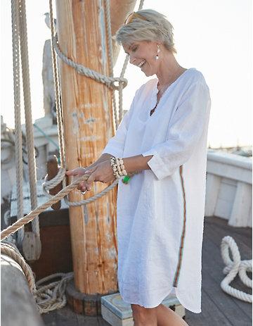 Deerberg Leinen-Kleid Claudina weiß