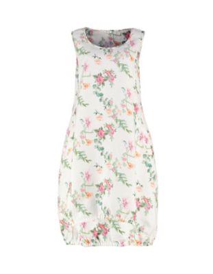 Deerberg Leinen-Kleid Moreen cremeweiß-geblümt