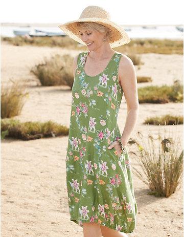 Deerberg Leinen-Kleid Moreen salatgrün-geblümt