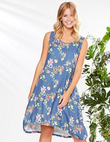 Deerberg Leinen-Kleid Moreen blau-geblümt