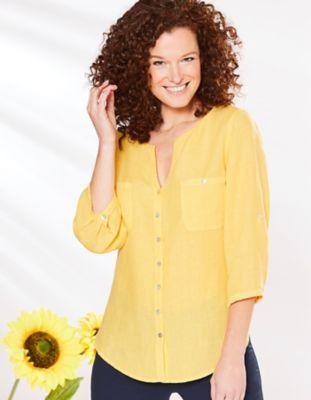 Deerberg Leinen-Bluse Denise mimosengelb