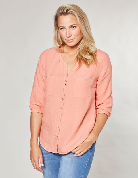 Leinen-Bluse Denise, Orange
