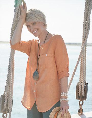 Deerberg Leinen-Bluse Denise aprikose