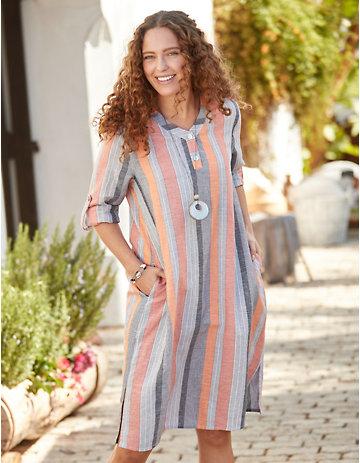 Deerberg Leinen-Kleid Marivi aprikose-grau-gesteift
