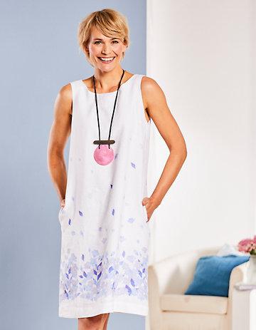 Deerberg Leinen-Kleid Colinda weiß-blau