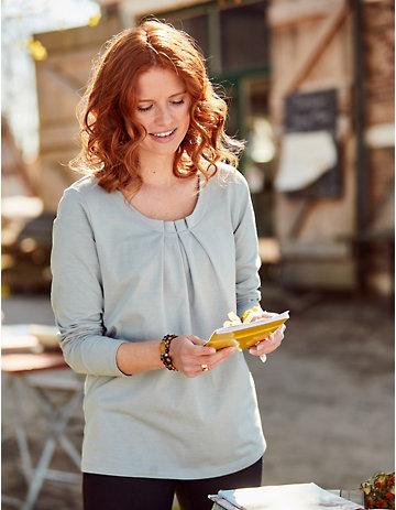 Deerberg Jersey-Shirt Trientje perlgrau