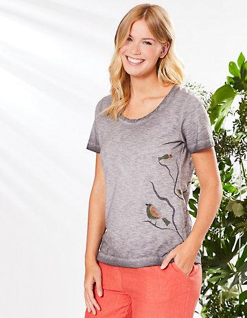 Deerberg Jersey-Shirt Cecylia asphalt-washed