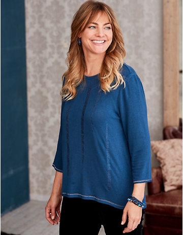 Deerberg Lurex-Shirt Bozena nachtblau