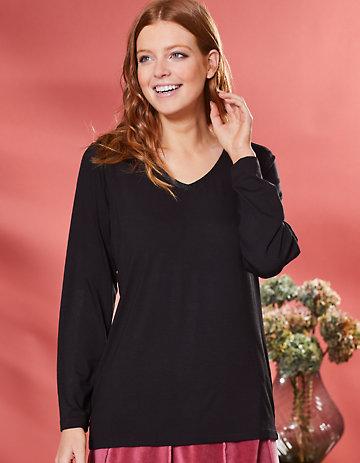 Deerberg Lurex-Shirt Narmin schwarz