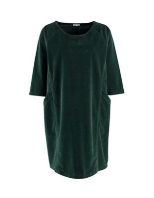 Deerberg Samt-Kleid Voline dunkeltanne