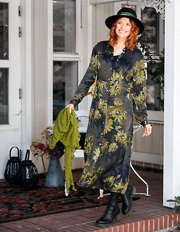 Deerberg Cupro-Kleid Diederike schwarz-goldgrün