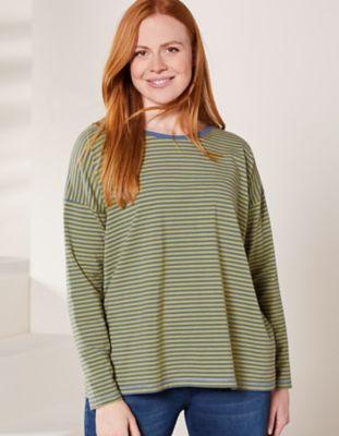 Deerberg Jersey-Shirt Lorelies mittelblau-sprossengrün