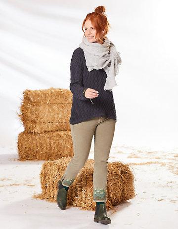 Deerberg Slim-Fit-Hose Francie olivgrün-washed