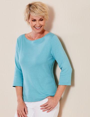 Deerberg Jersey-Shirt Geske topasblau