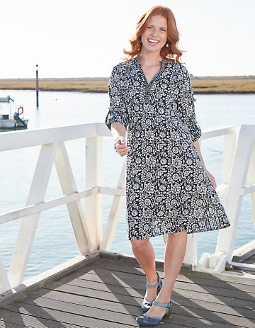 Deerberg Kleid Tanice marine-weiß