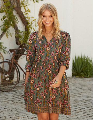 Deerberg Kleid Deike olivgrün-geblümt