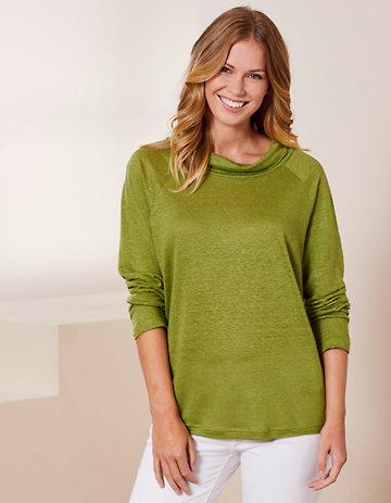 Deerberg Leinenjersey-Shirt Line salatgrün