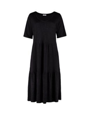 Deerberg Leinenjersey-Kleid Coretta schwarz