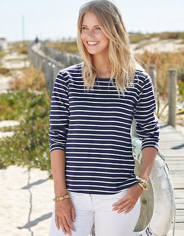 Deerberg Sweat-Shirt Telsa marine-cremeweiß