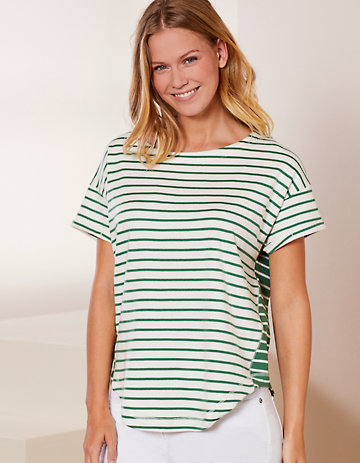 Deerberg Sweat-Shirt Wendle cremeweiß-palmgrün