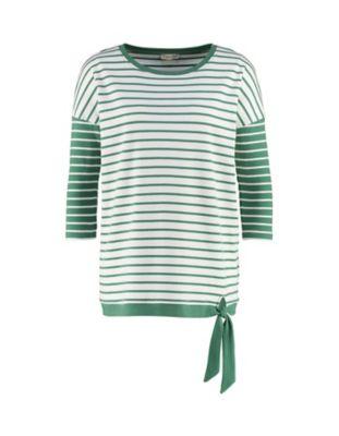 Deerberg Sweat-Shirt Warda palmgrün-cremeweiß