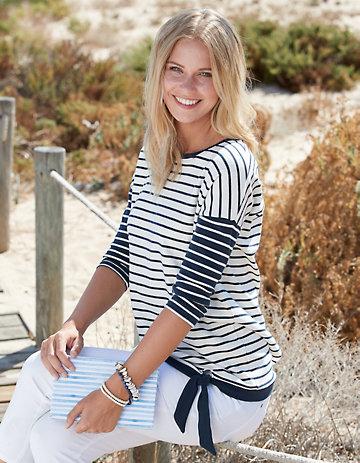 Deerberg Sweat-Shirt Warda marine-cremeweiß