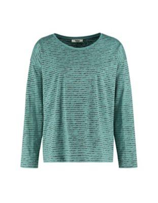 Deerberg Jersey-Shirt Sixta kupergrün-gestreift