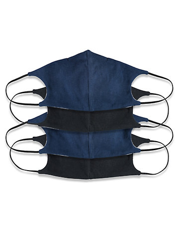 mit Nasenbügel Jersey 4er Pack Nase-Mund-Maske schwarz-marine
