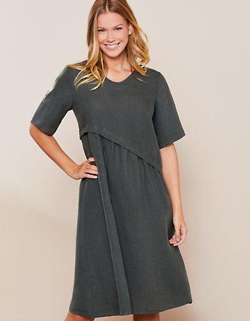 Deerberg Leinen-Kleid Rabna dunkelkupfergrün