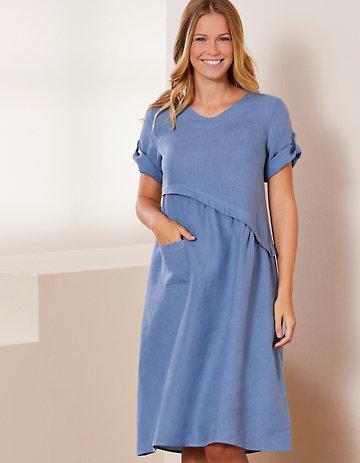 Deerberg Leinen-Kleid Rabna balticblau
